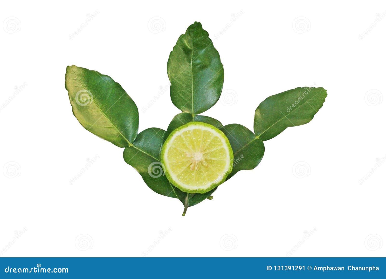 切片非洲黑人石灰或香柠檬与在白色背景隔绝的叶子