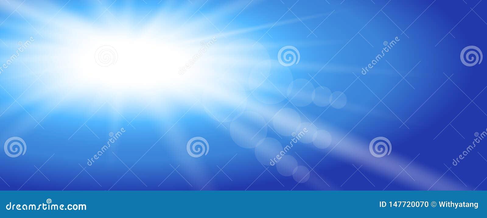 Sky sunshine. Vector illustration design. Sun light rays burst. Blue sky.  Flat design. Background.
