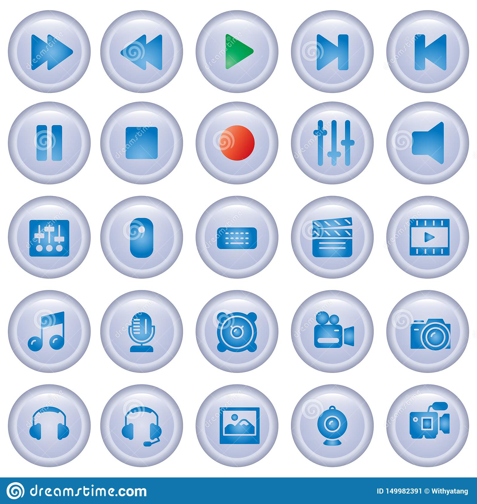 Media player control buttons collection. Glass Buttons Set