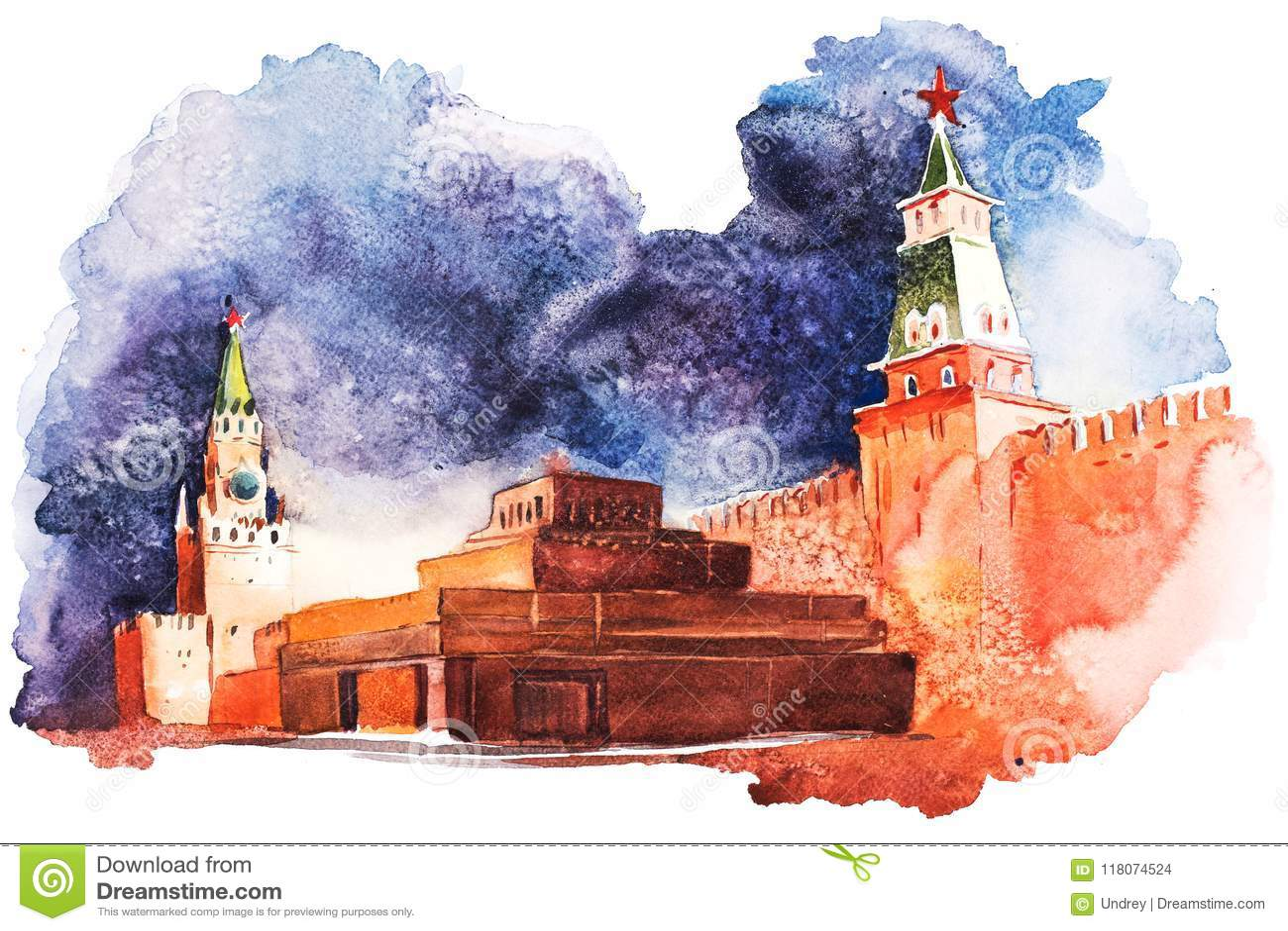 列宁陵墓在红场俄罗斯水彩的莫斯科