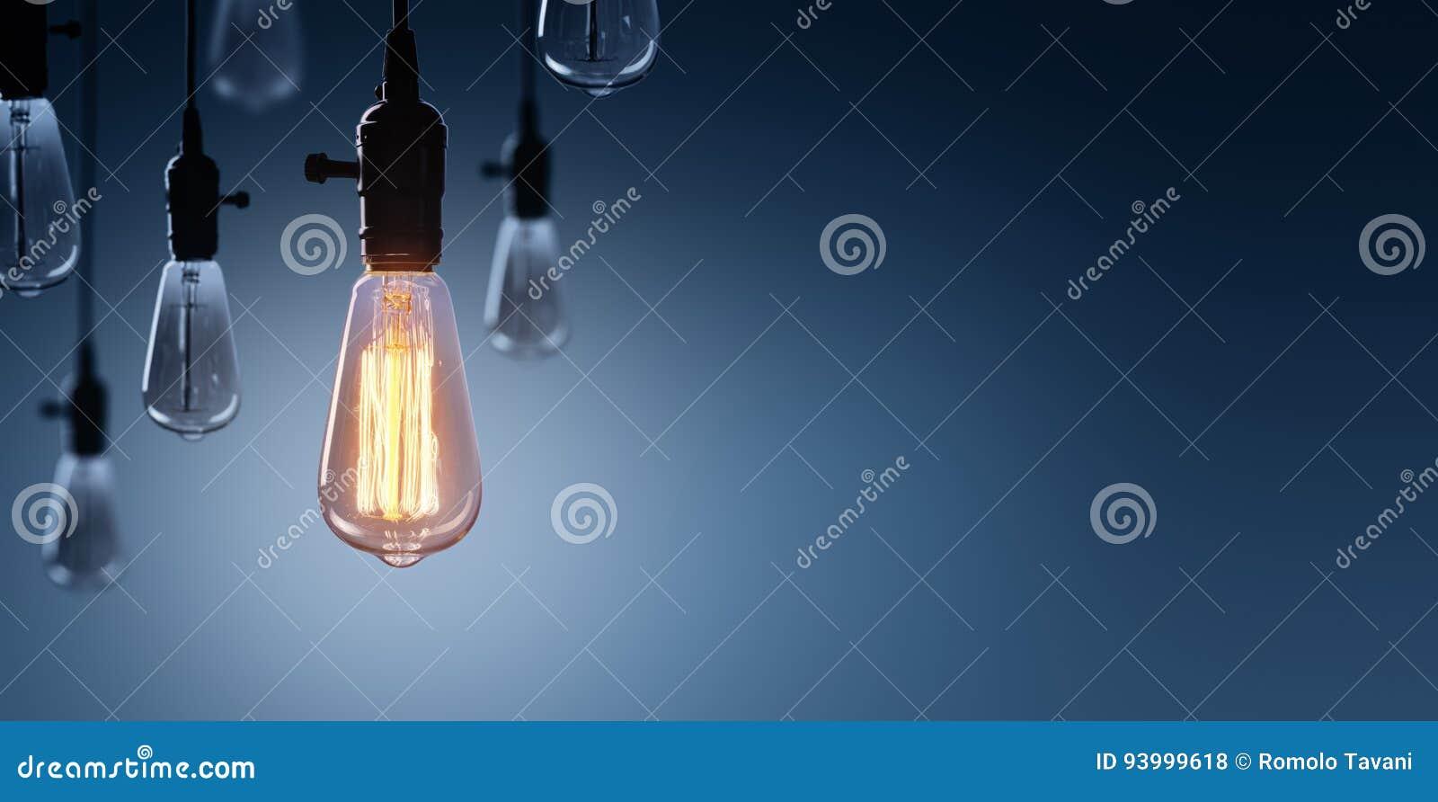 创新和领导概念-发光的电灯泡