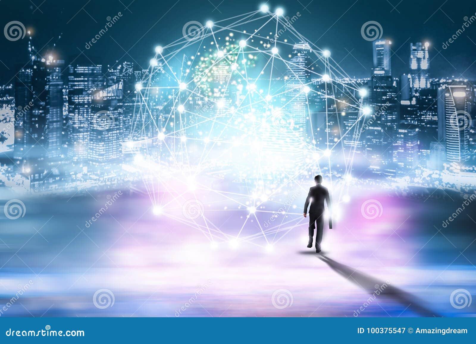 创造性抽象技术背景,创新,想法和未来派想法的概念