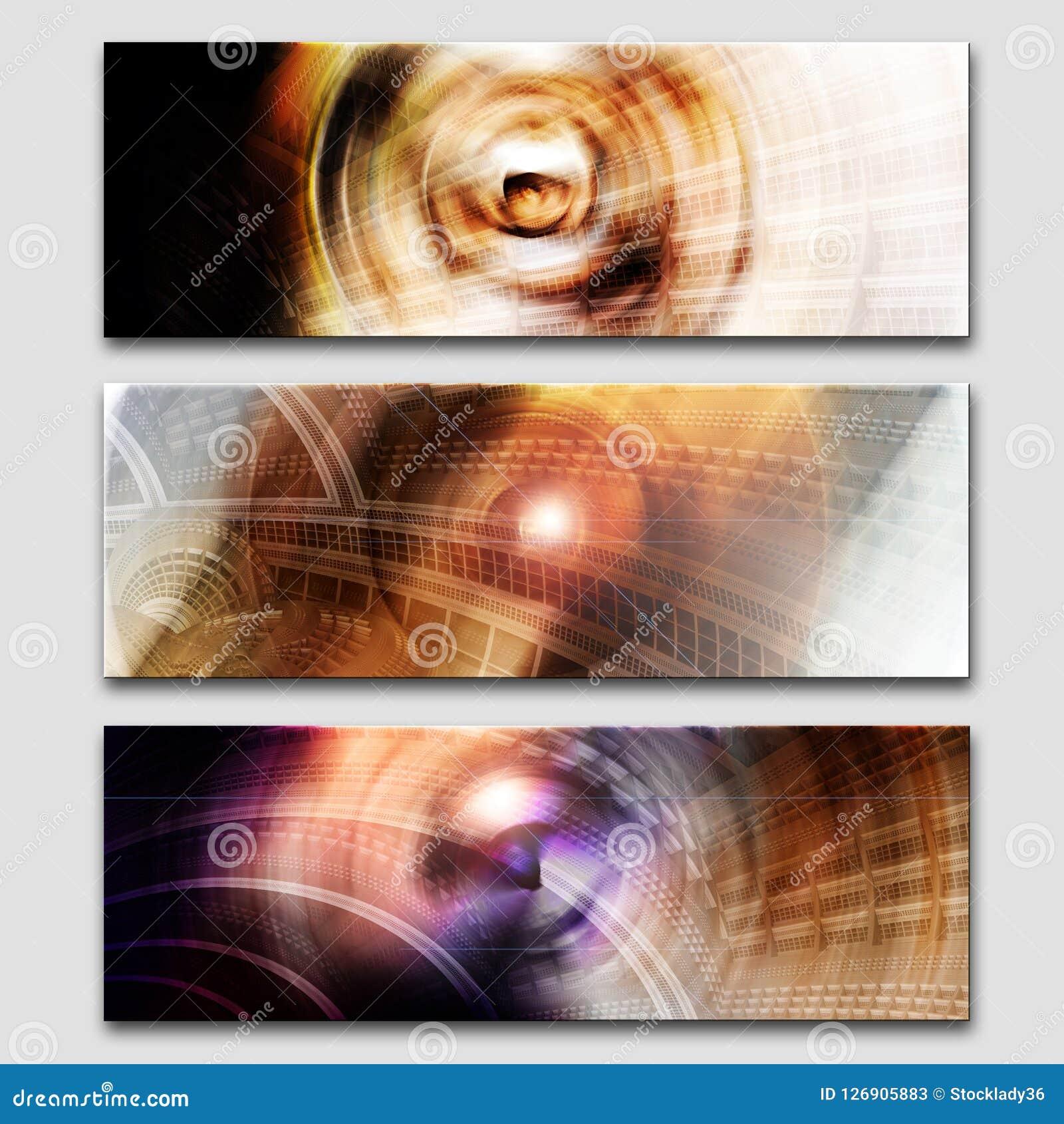 创造性的三倍抽象横幅集合