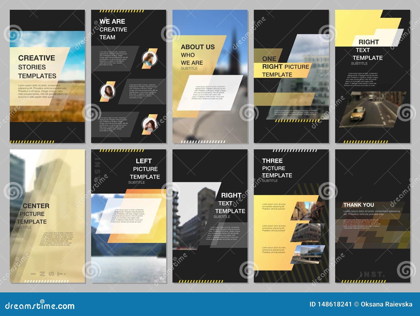 创造性的人脉故事设计,垂直的横幅或飞行物模板与几何黄色五颜六色的梯度