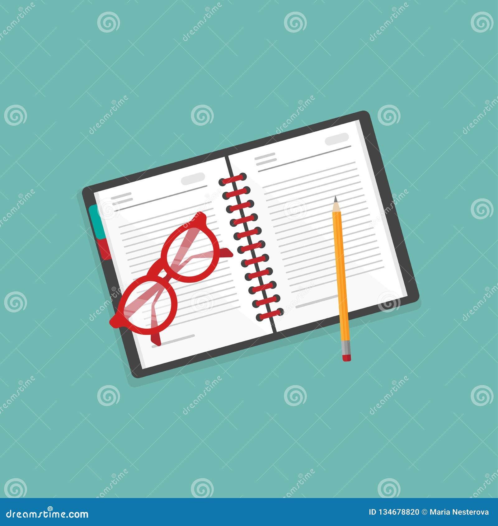 创造性的作家工作场所象 笔记本、红色玻璃和铅笔在蓝色背景 撰稿人生活习俗