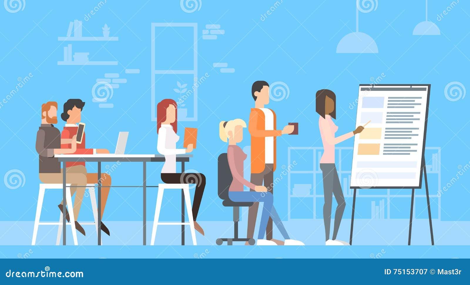 创造性的办公室中心人民坐的书桌运作的介绍活动挂图,训练大学的学生
