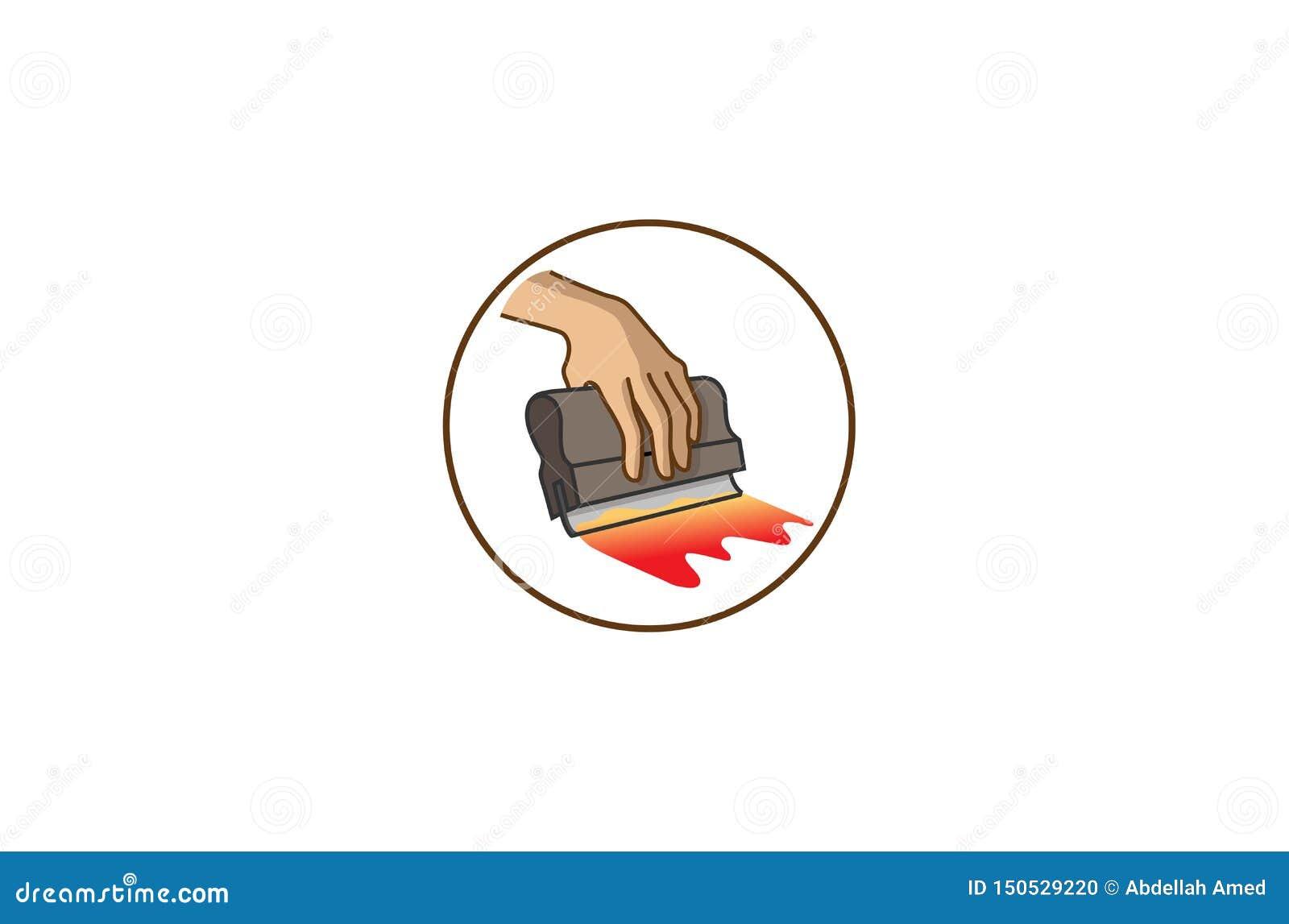 创造性的圈子橡皮刮板丝网印刷商标标志传染媒介例证