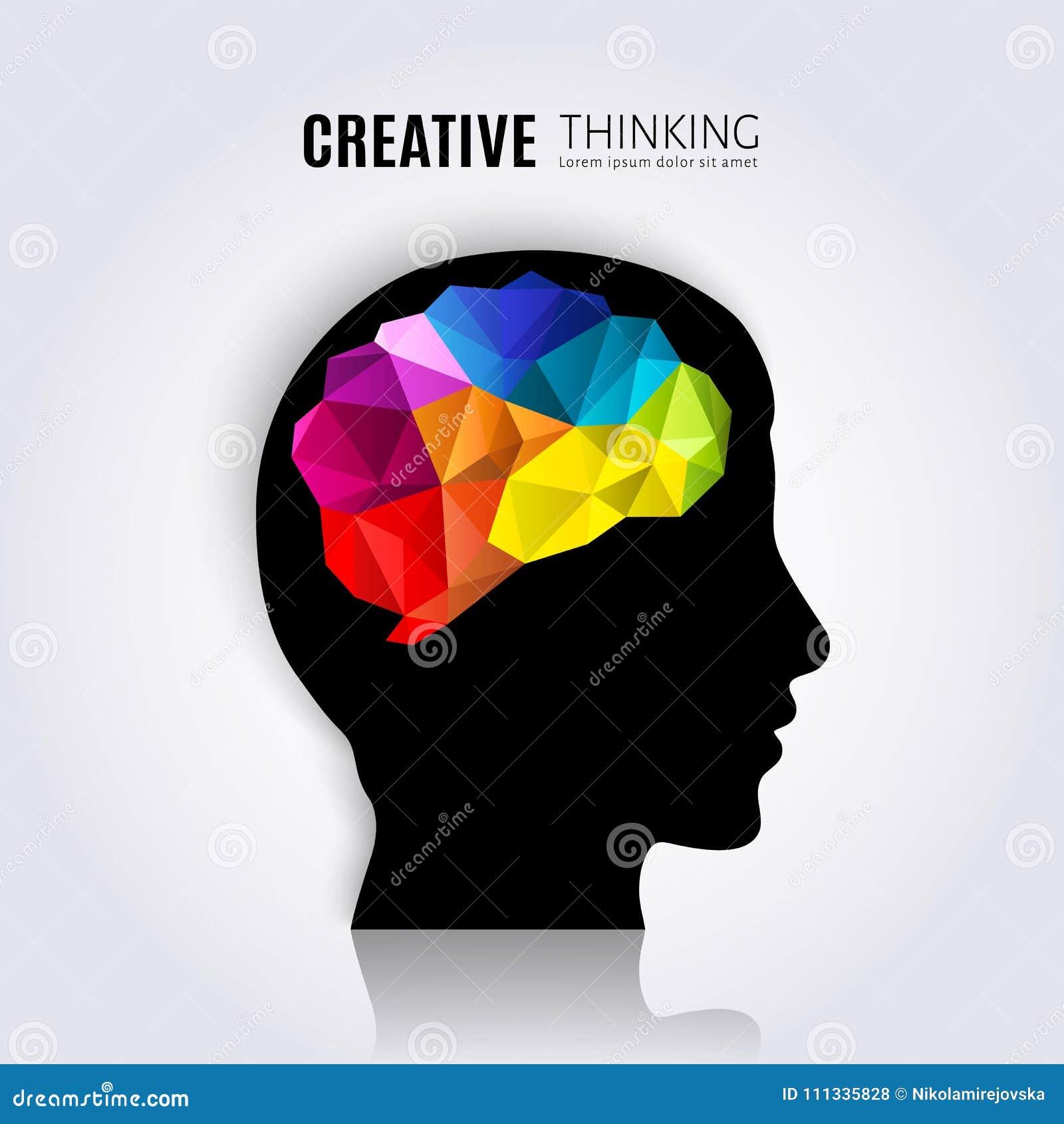 创造性的头脑 人脑的概念在黑顶头外形里面的 多角形样式