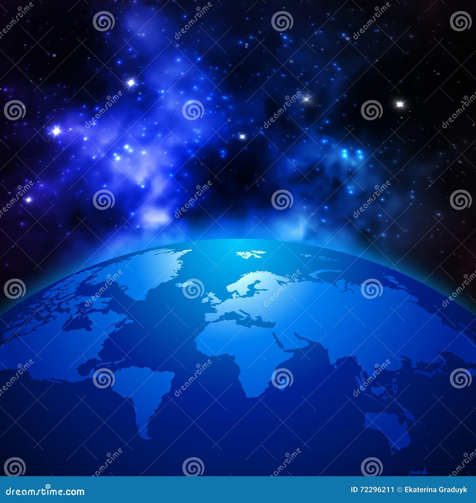 创造性的抽象全球性通信科学概念:间隔地球与世界地图的行星地球看法在太阳
