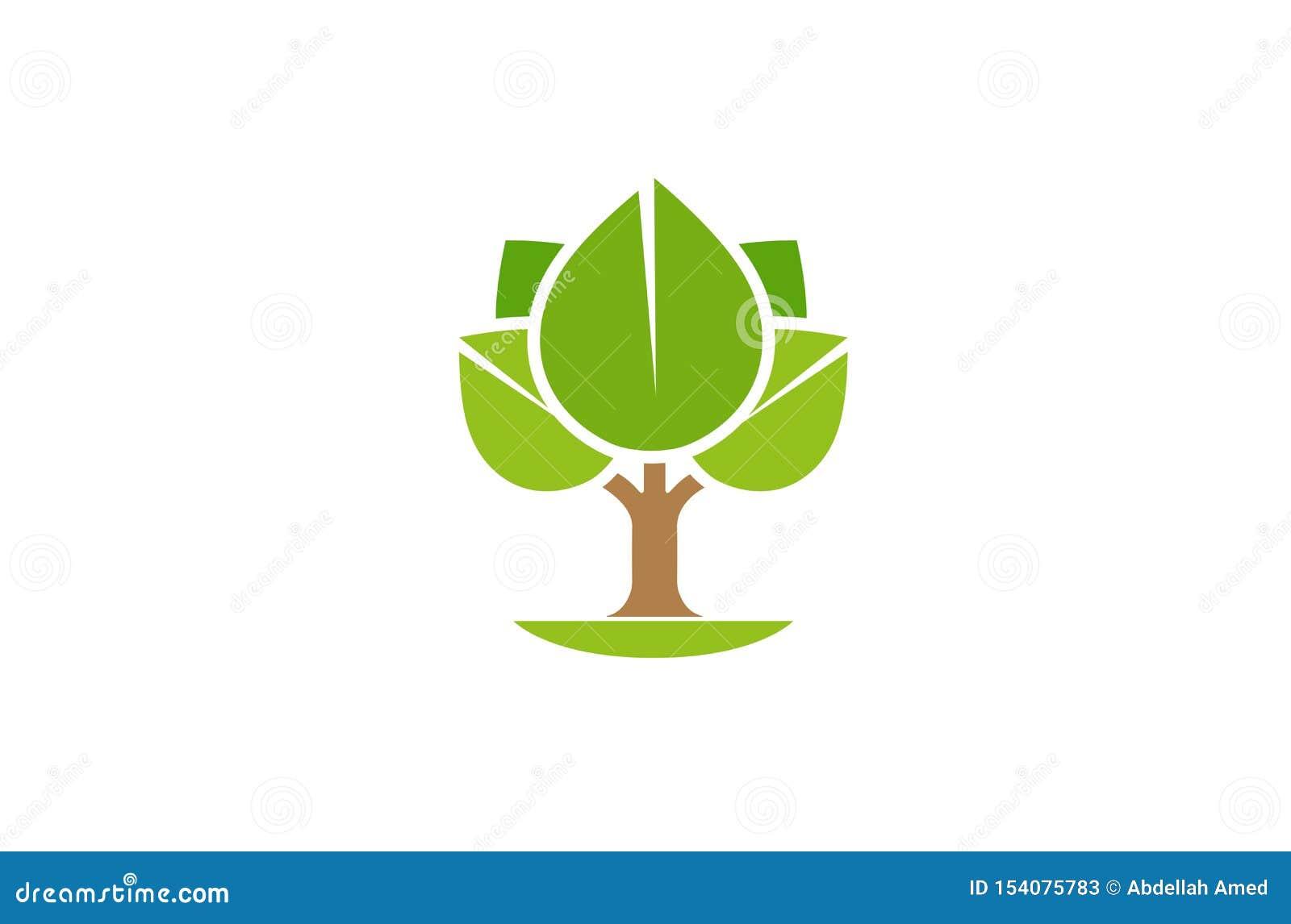 创造性的抽象树商标设计传染媒介标志例证