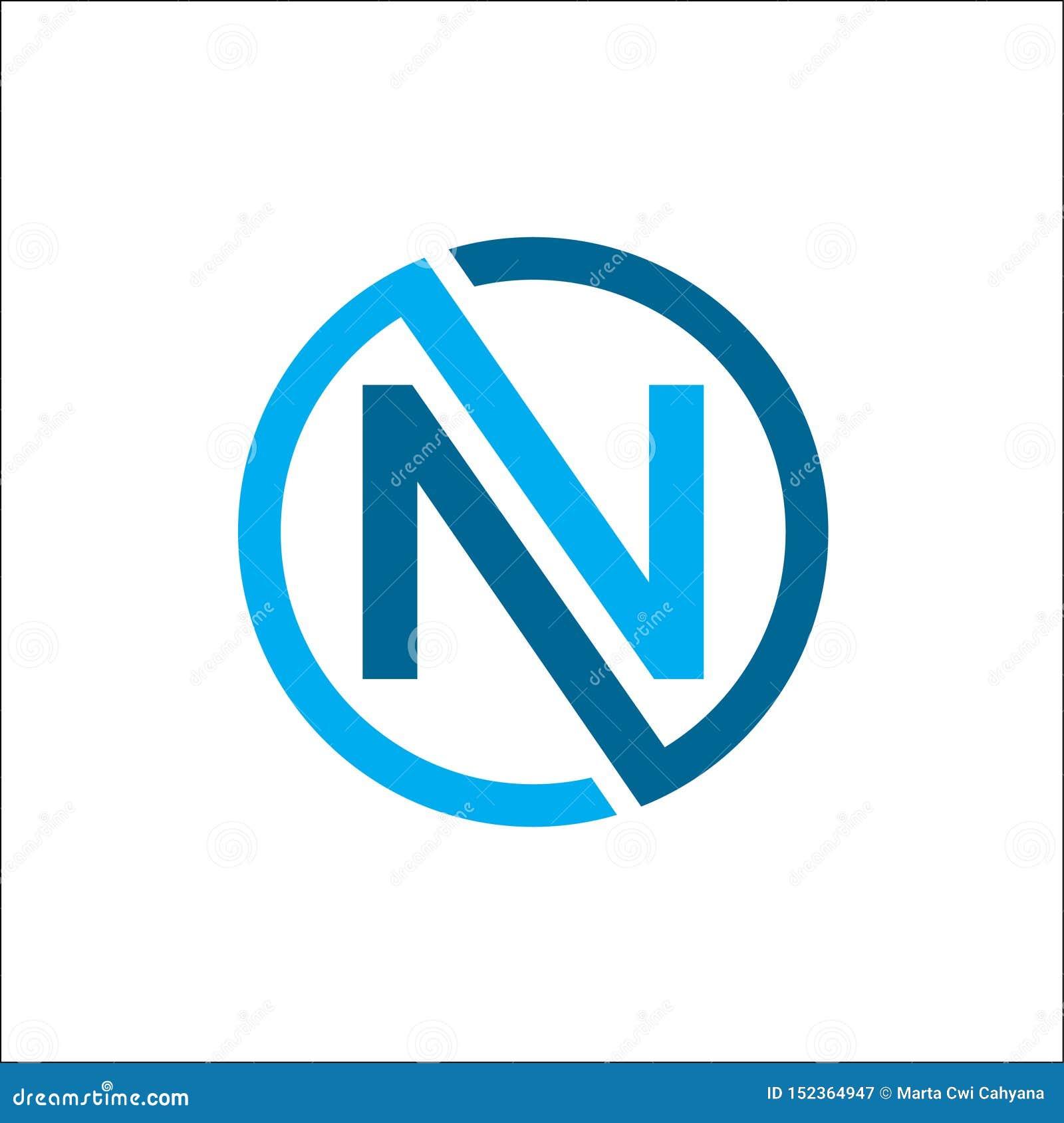 创造性的首写字母n圈子颜色商标传染媒介,线性圈子字母N商标传染媒介