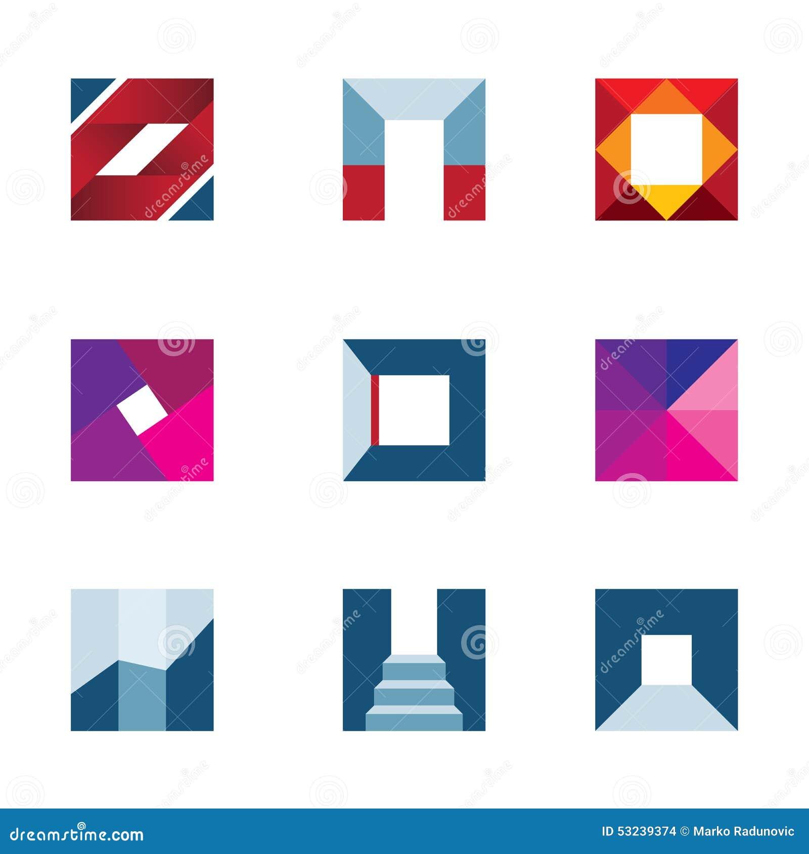 创造走到成功专业商标象的几何立方体多角形