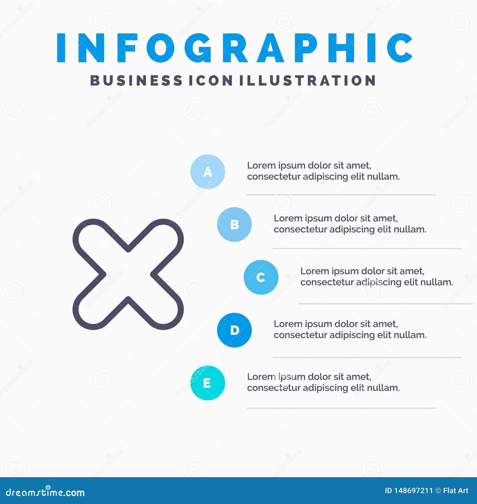 删除,取消,接近,发怒线象有5步介绍infographics背景