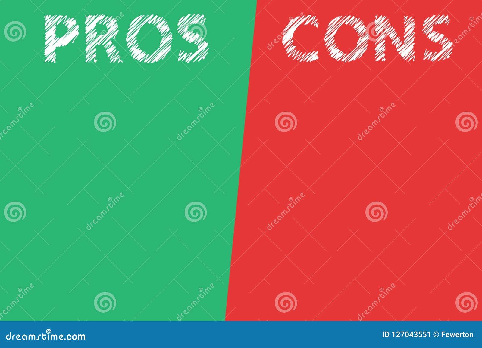 利弊评估分析词文本透明在分开的名单绿色红色背景