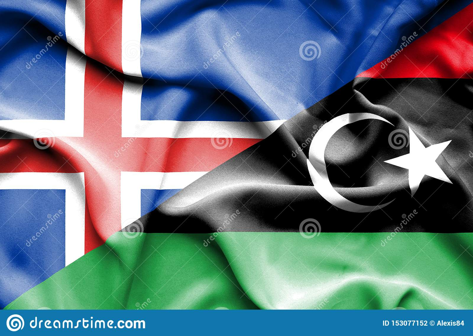 利比亚和冰岛的挥动的旗子
