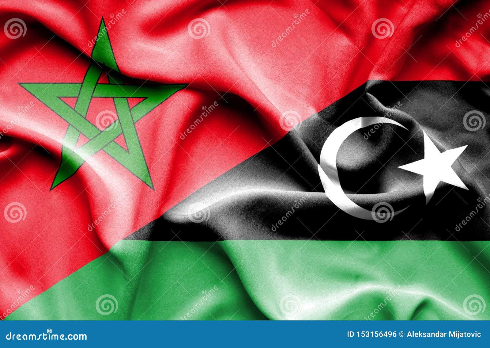 利比亚和摩洛哥的挥动的旗子