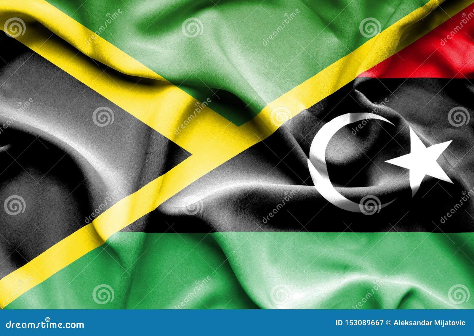 利比亚和牙买加的挥动的旗子