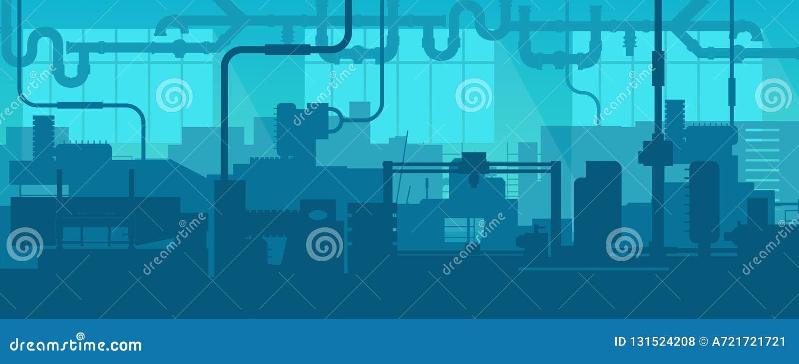 制造工厂设备的工厂线的创造性的传染媒介例证scen内部背景 艺术的设计