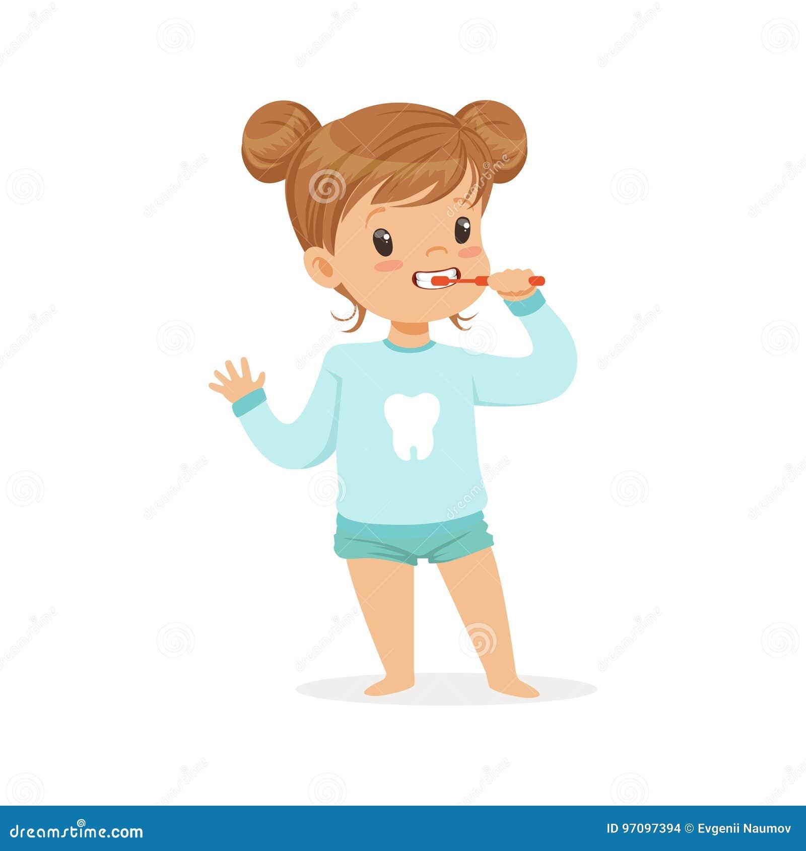 刷她的牙,孩子牙齿保护传染媒介例证的可爱的动画片女孩