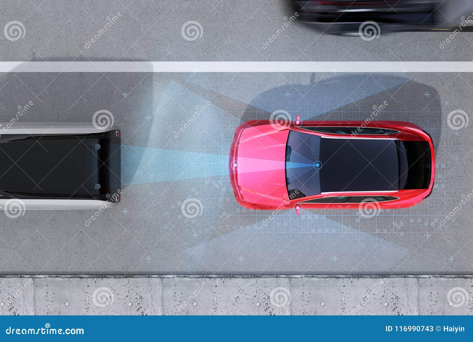 刹车红色SUV的紧急状态鸟瞰图避免车祸