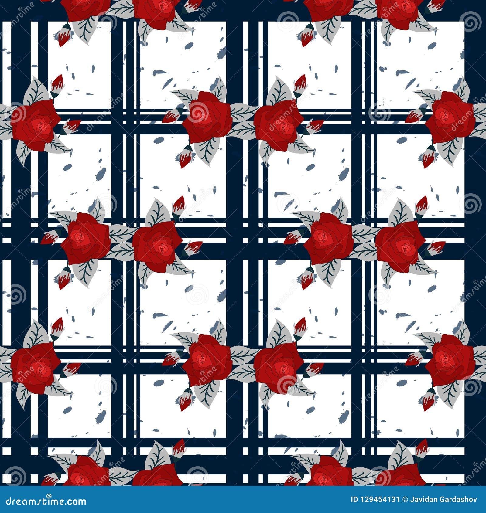 刺绣红色花纹花样和蓝色格子呢无缝的样式 有益于桌布,织品,组织