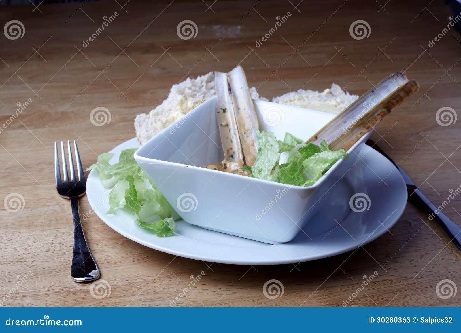 剃刀鱼和沙拉