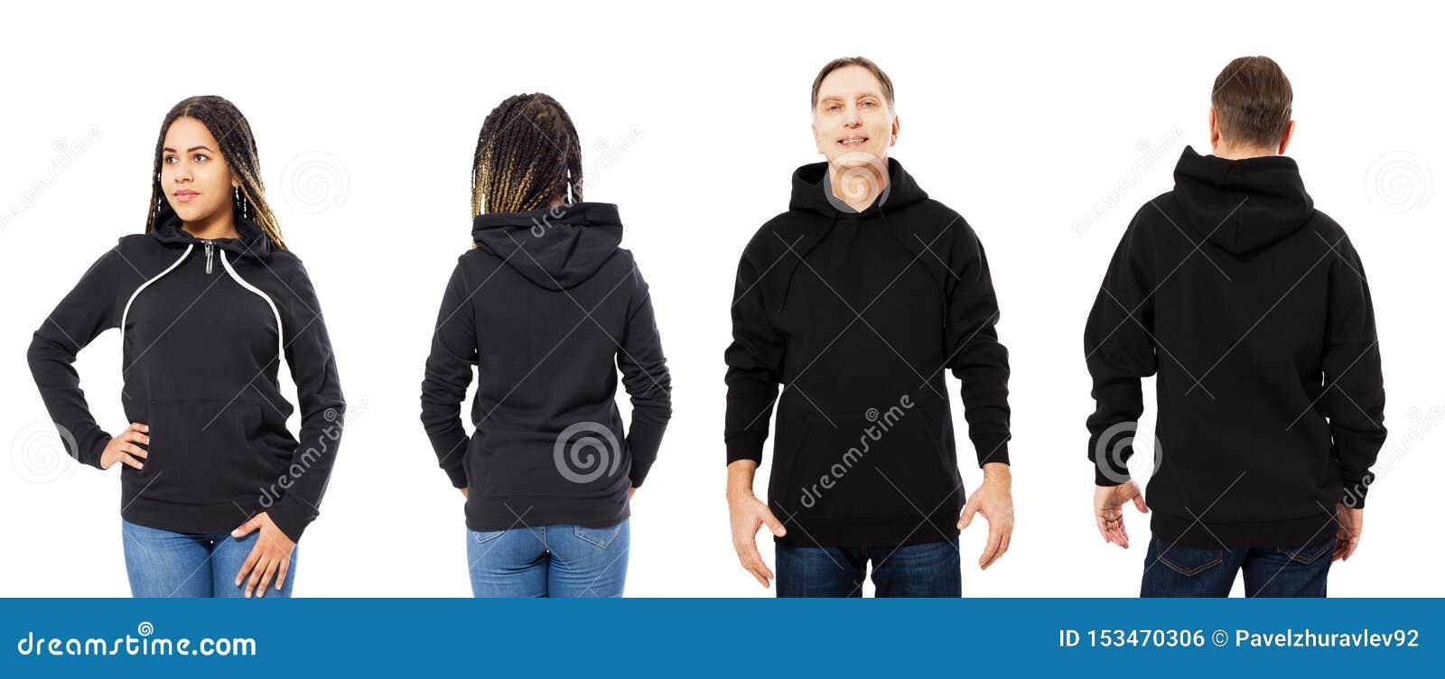 前面后面和后方黑运动衫视图 美丽的黑人妇女和人模板衣裳的被隔绝的印刷品和拷贝空间的