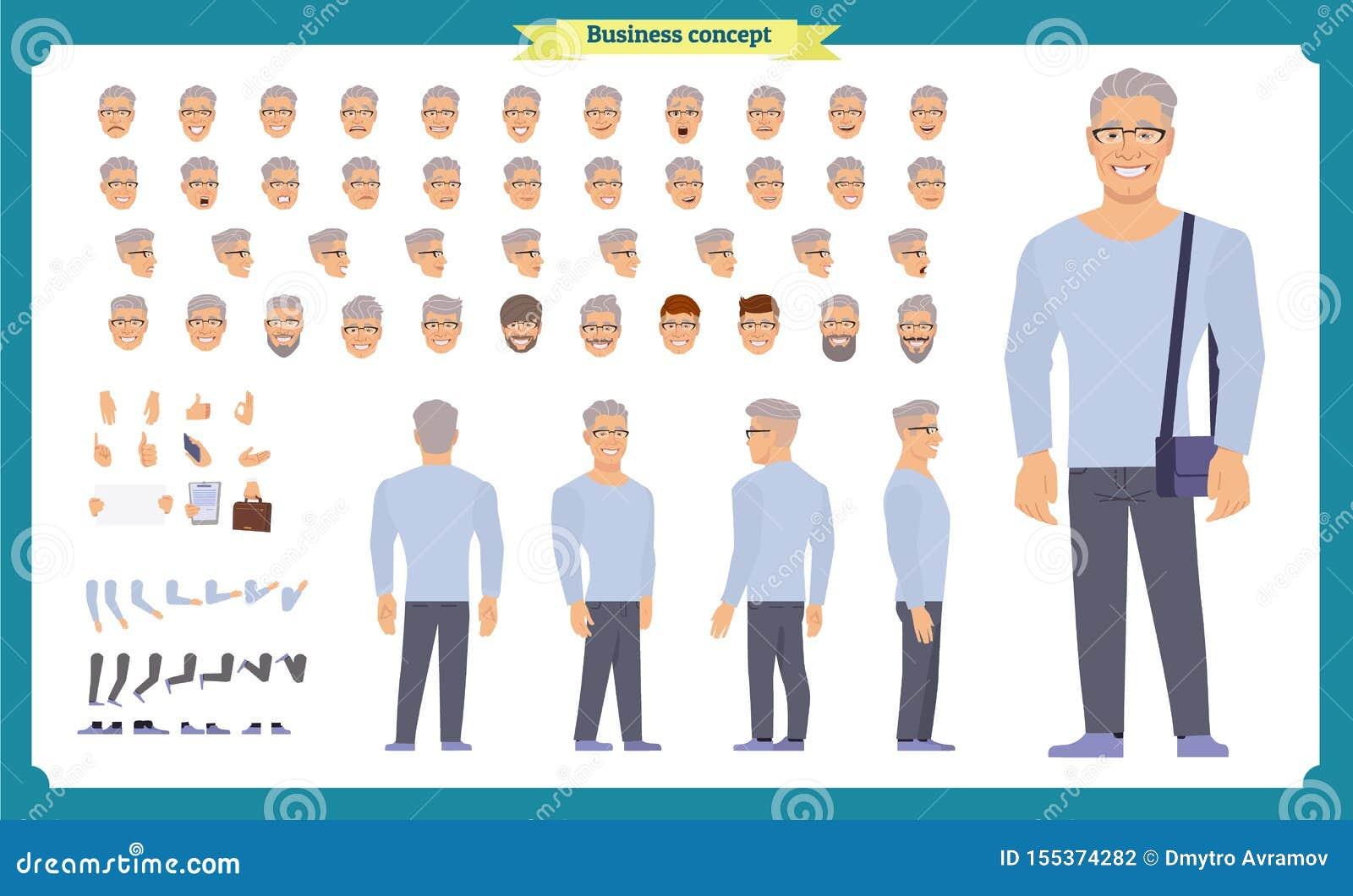 前面,边,后面看法给字符集赋予生命有各种各样的看法、发型、面孔情感、姿势和姿态