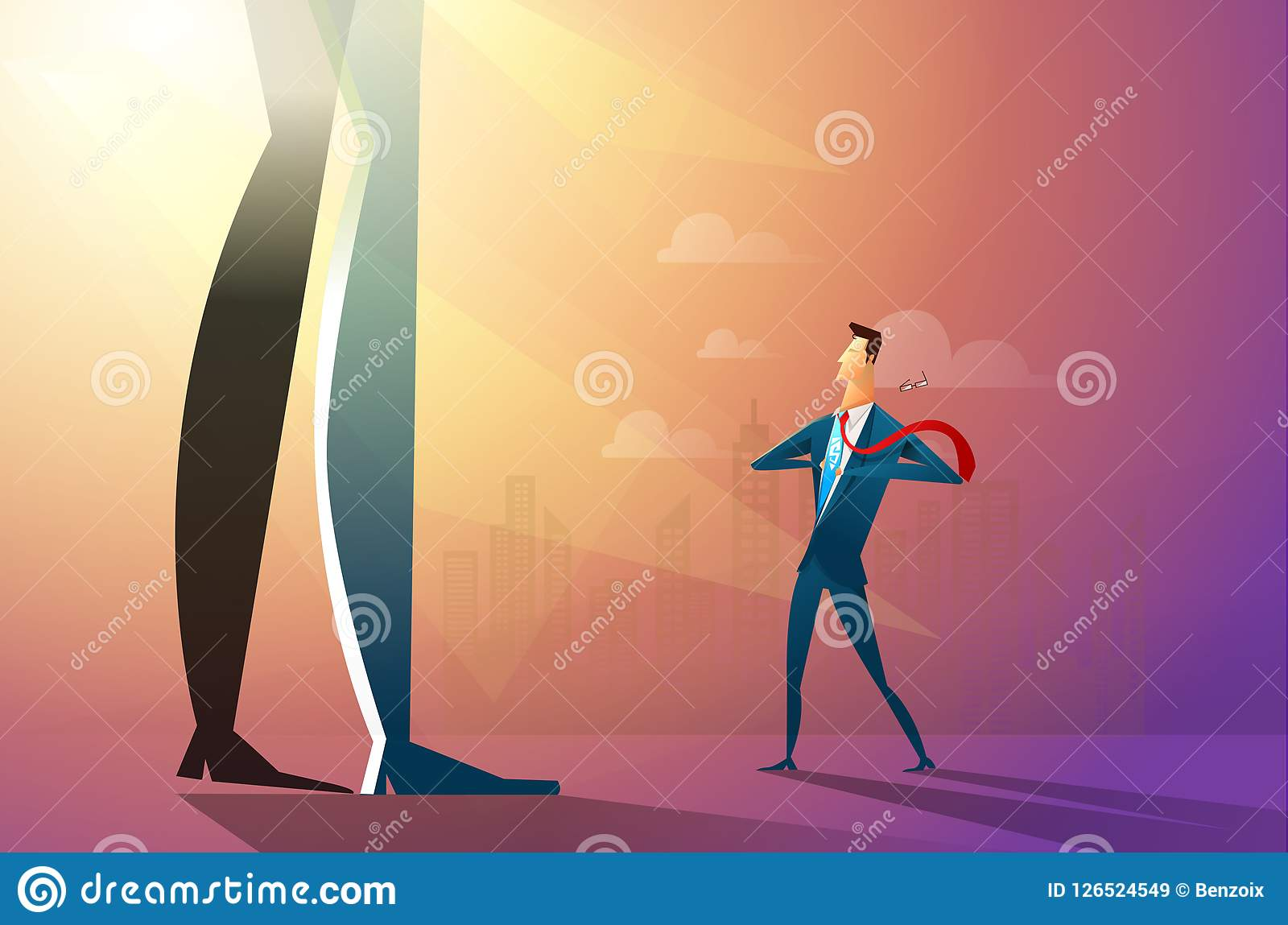 剥去他的衬衣和把变成超级英雄的一个确信的商人的例证战斗与大公司 平面