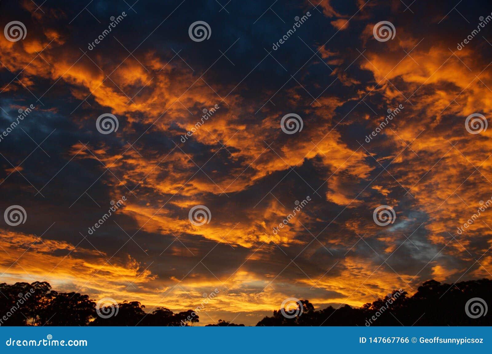 剧烈的桔黄色stratocumulus日出cloudscape
