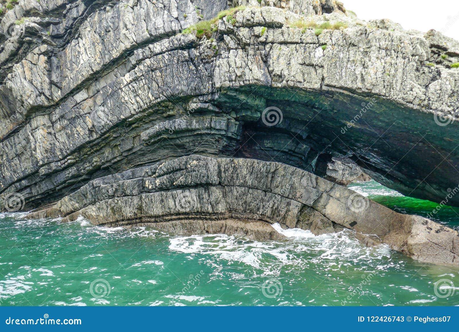 剧烈的沿海峭壁岩石分层堆积曲线,形成在小野鸭水色海浪的洞在循环入口半岛,克莱尔郡,爱尔兰
