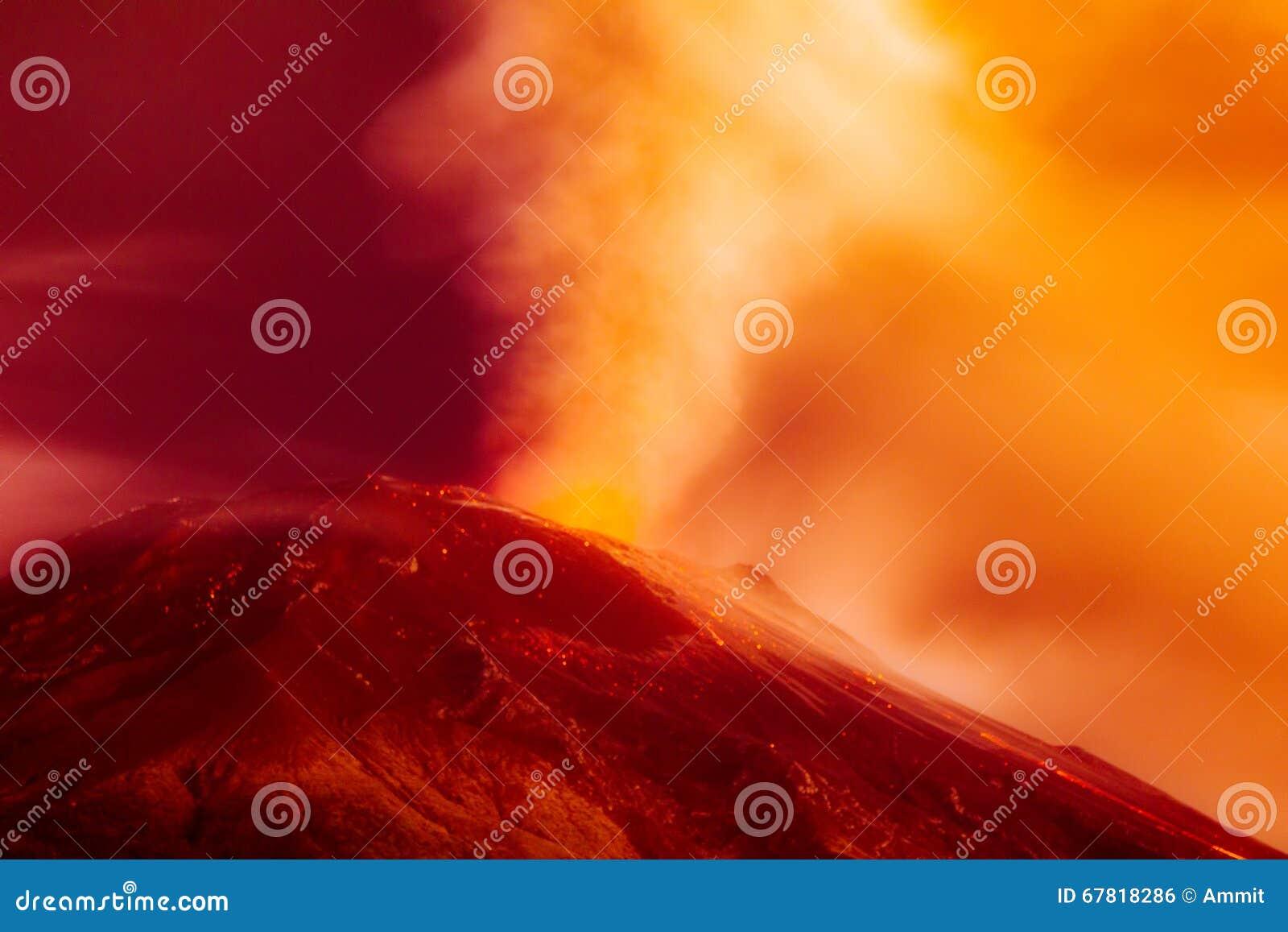 剧烈的火山爆发长的曝光
