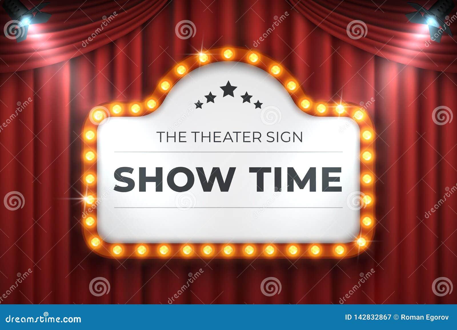 剧院戏院标志 电影光框架,在红色背景的减速火箭的大门罩横幅 传染媒介电灯泡现实广告牌