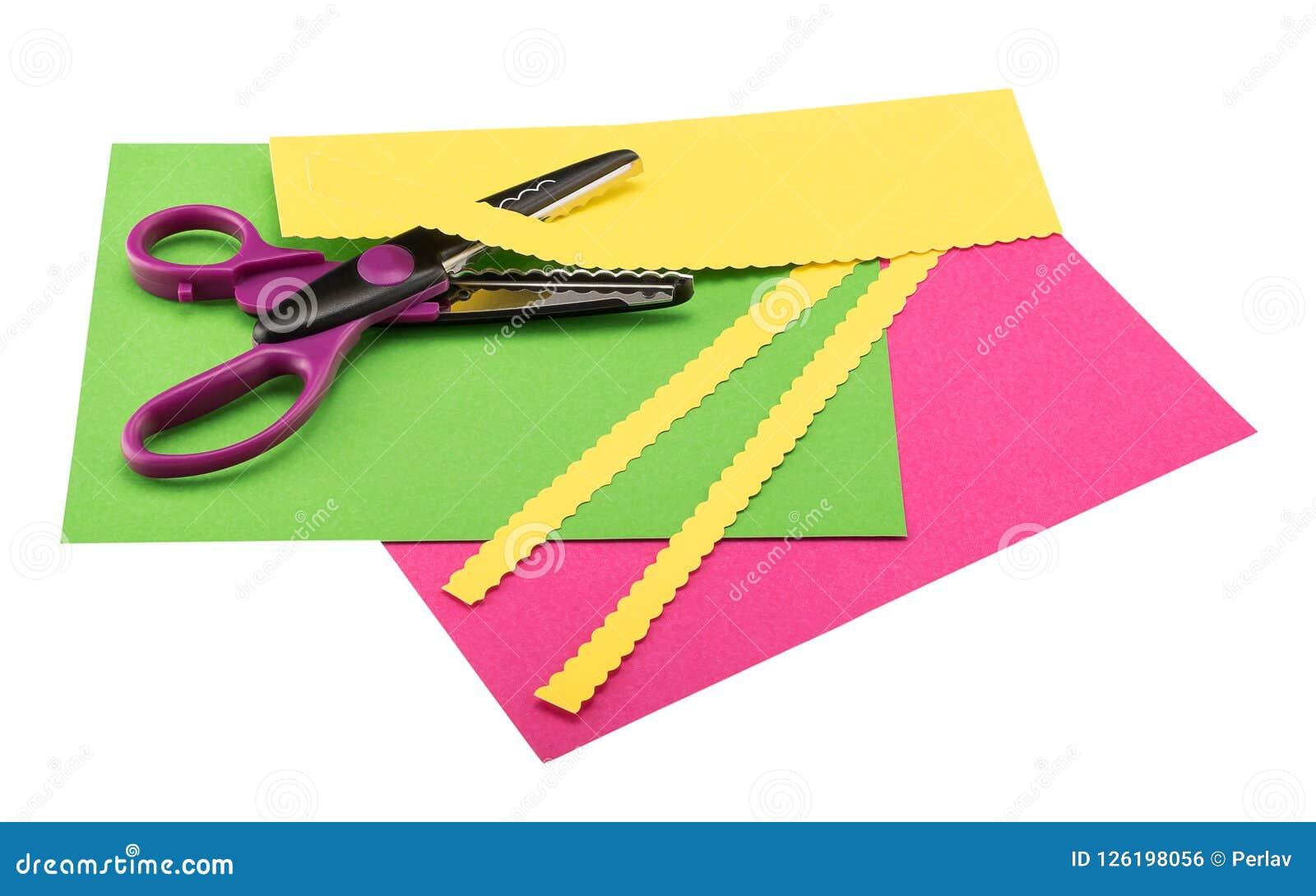 剪刀,纸轧边机,说谎在颜色作图纸