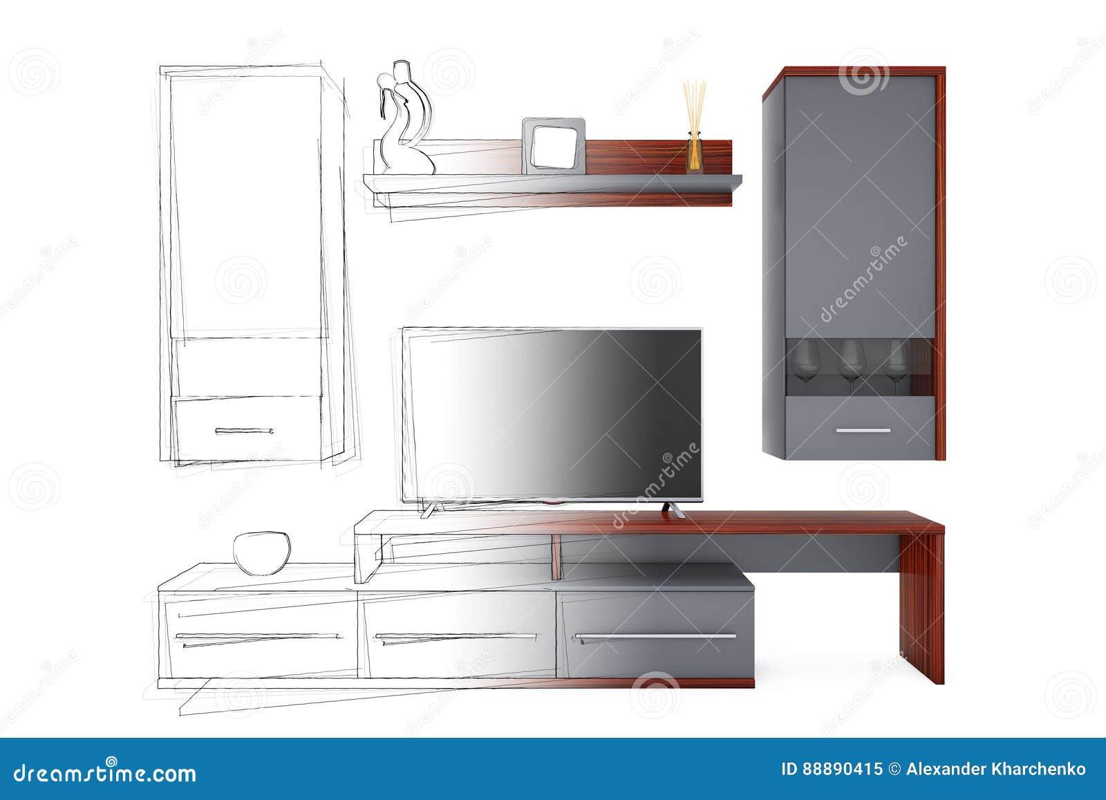 从剪影手图画想法到现代客厅组合壁橱