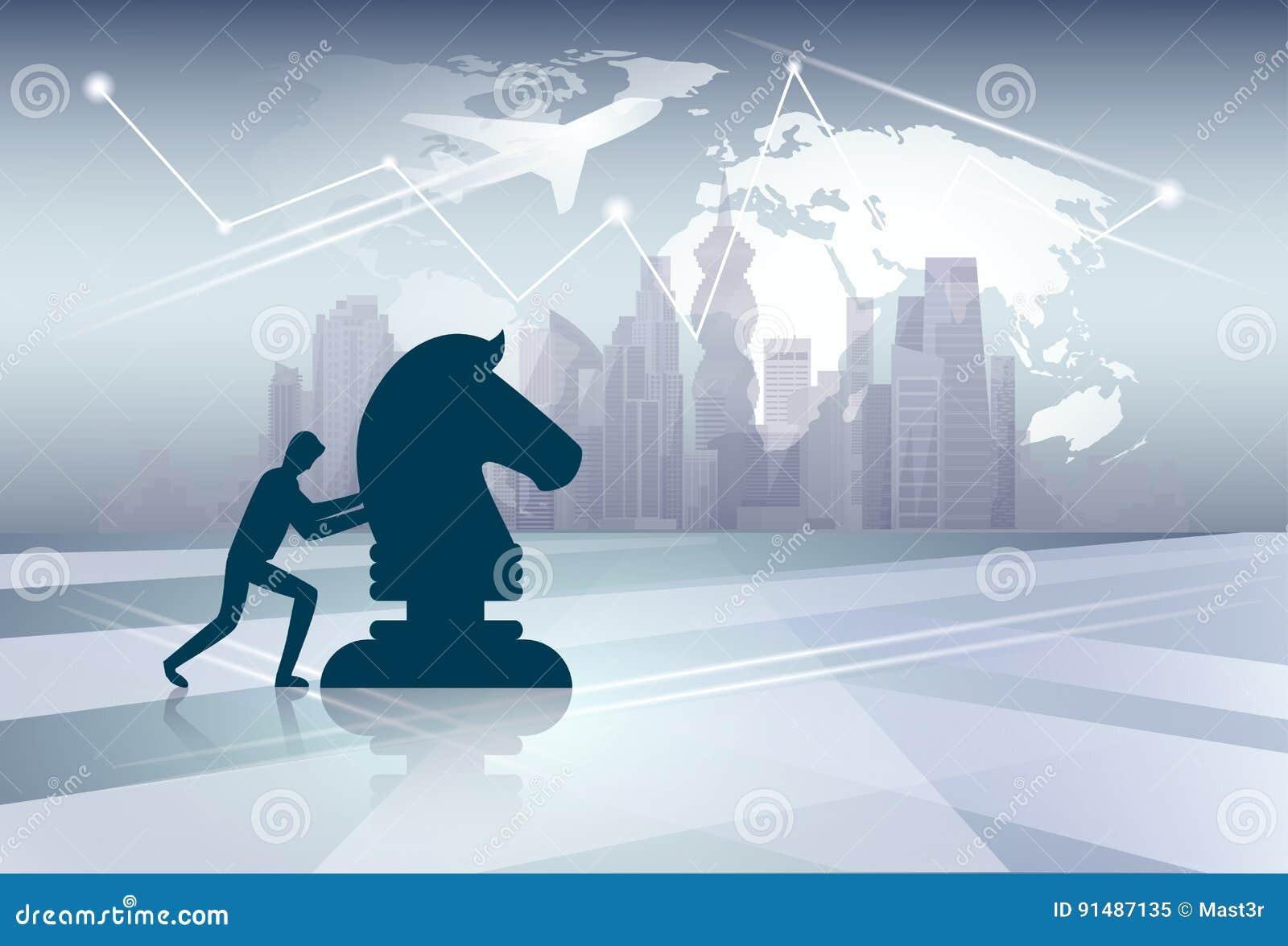 剪影推挤Cess形象在世界地图背景的新的想法战略概念的商人