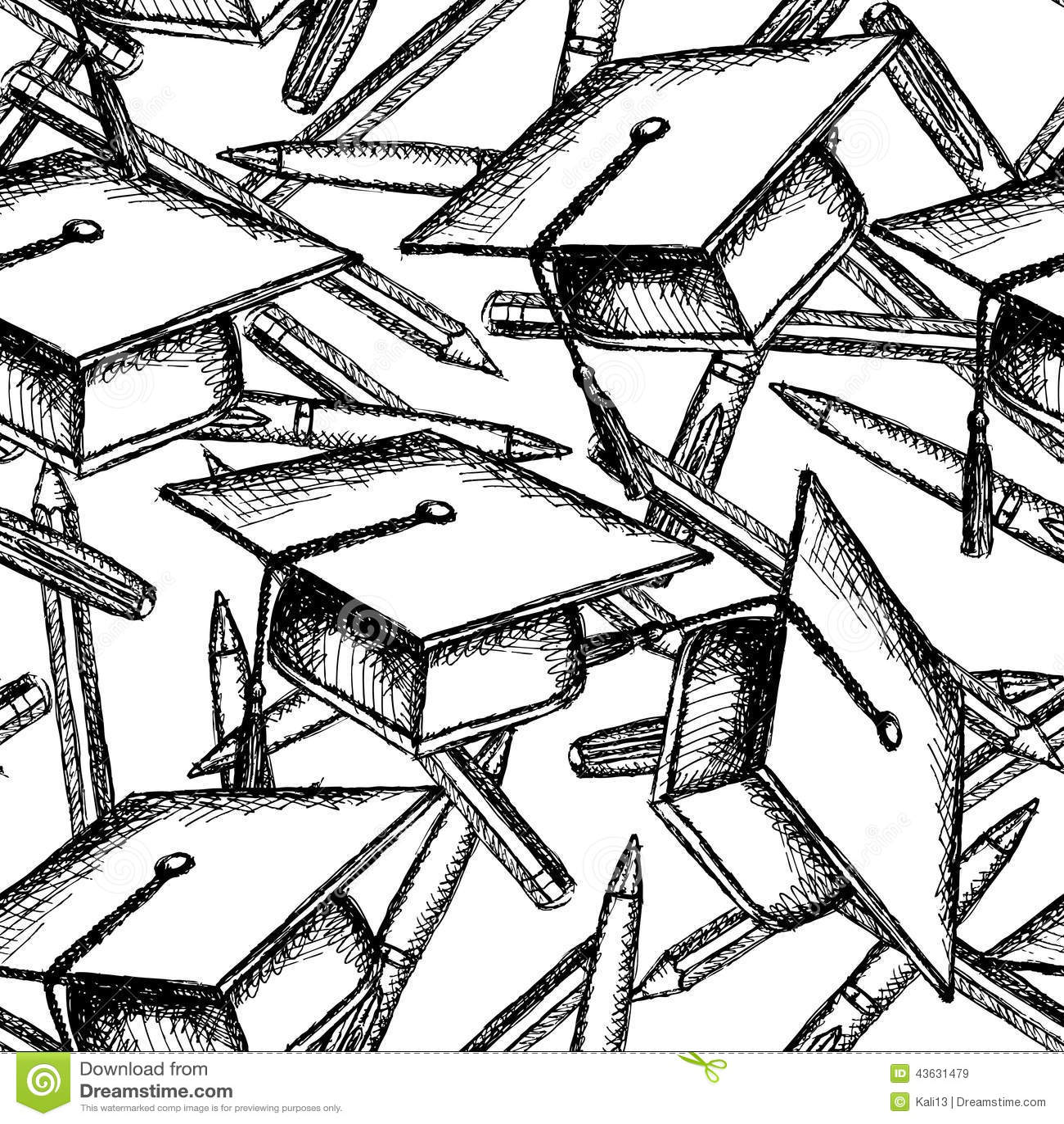 速写毕业帽子,pwn和铅笔, sezmless样式.图片