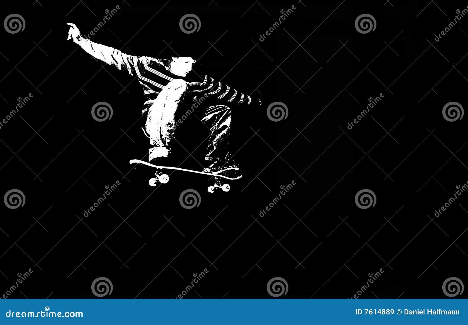 剪影溜冰板运动