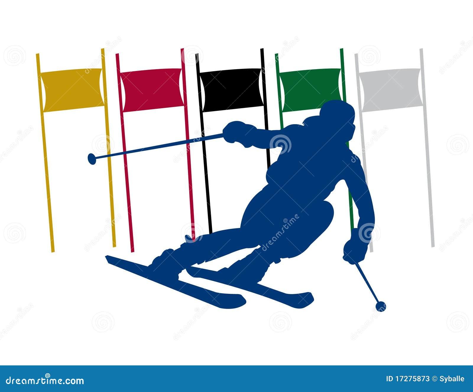 剪影滑雪者障碍滑雪