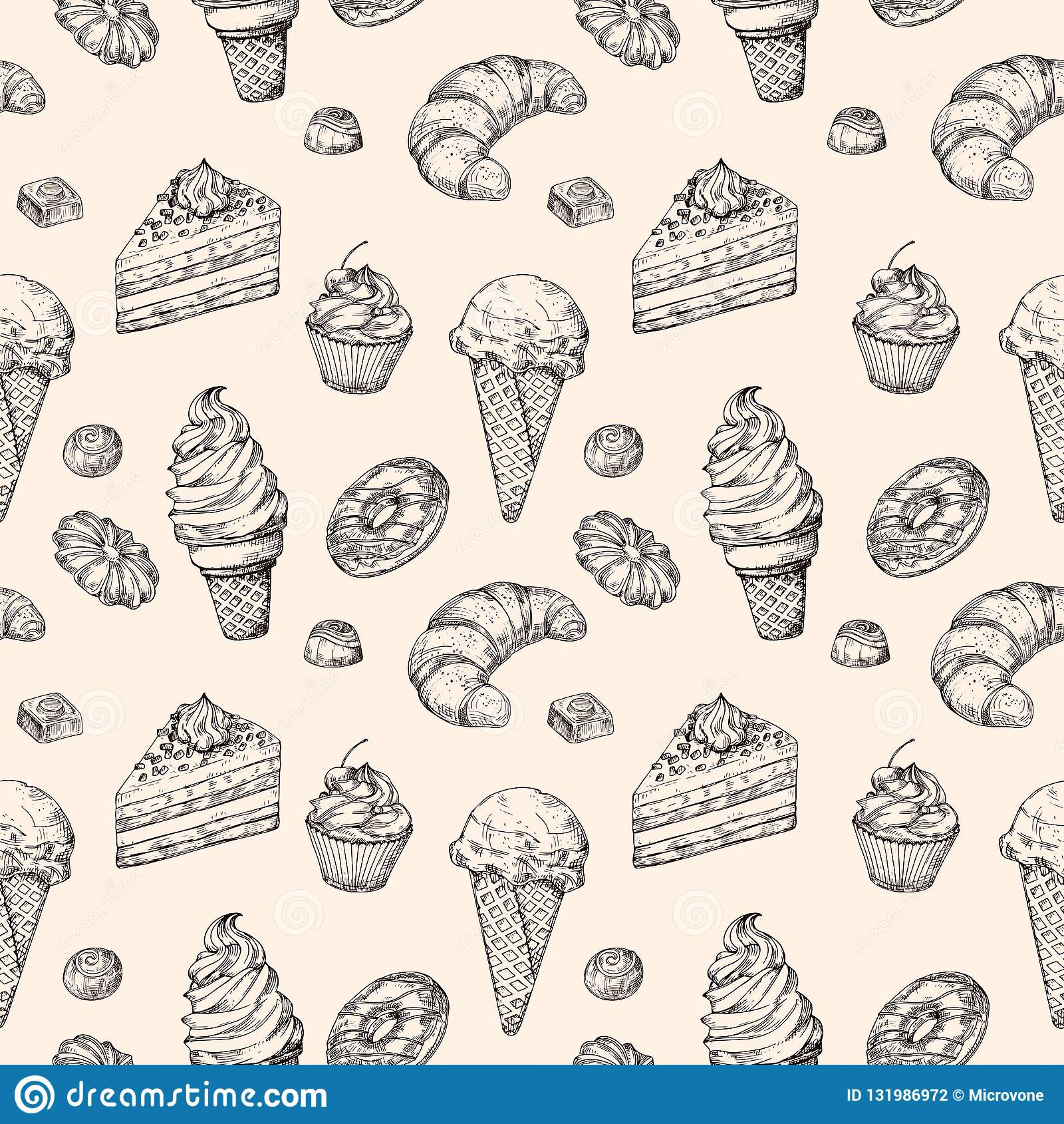剪影点心无缝的背景 蛋糕甜点杯形蛋糕和包裹纹理的冰淇淋手拉的传染媒介