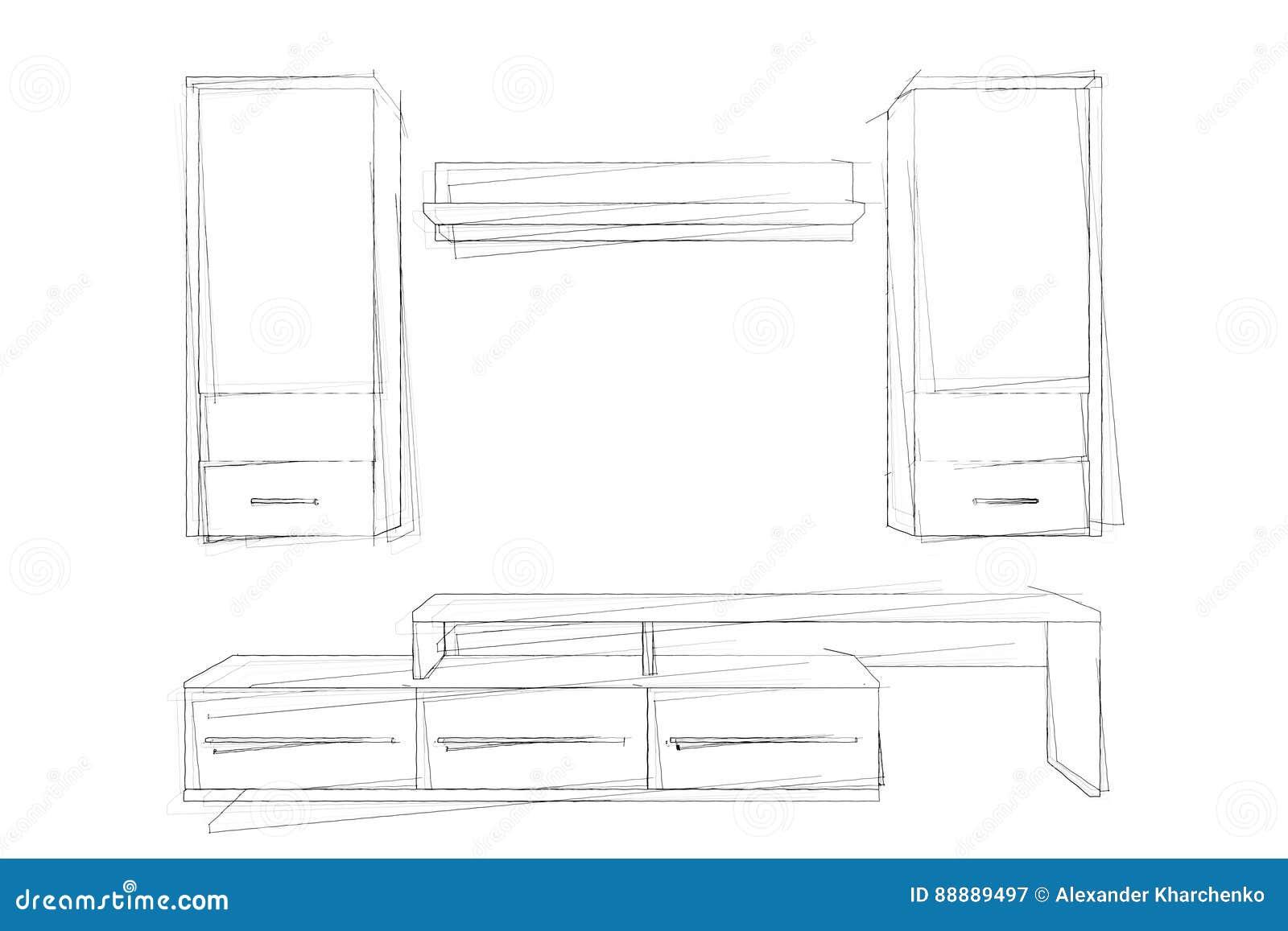 剪影现代客厅组合壁橱手图画  3d回报