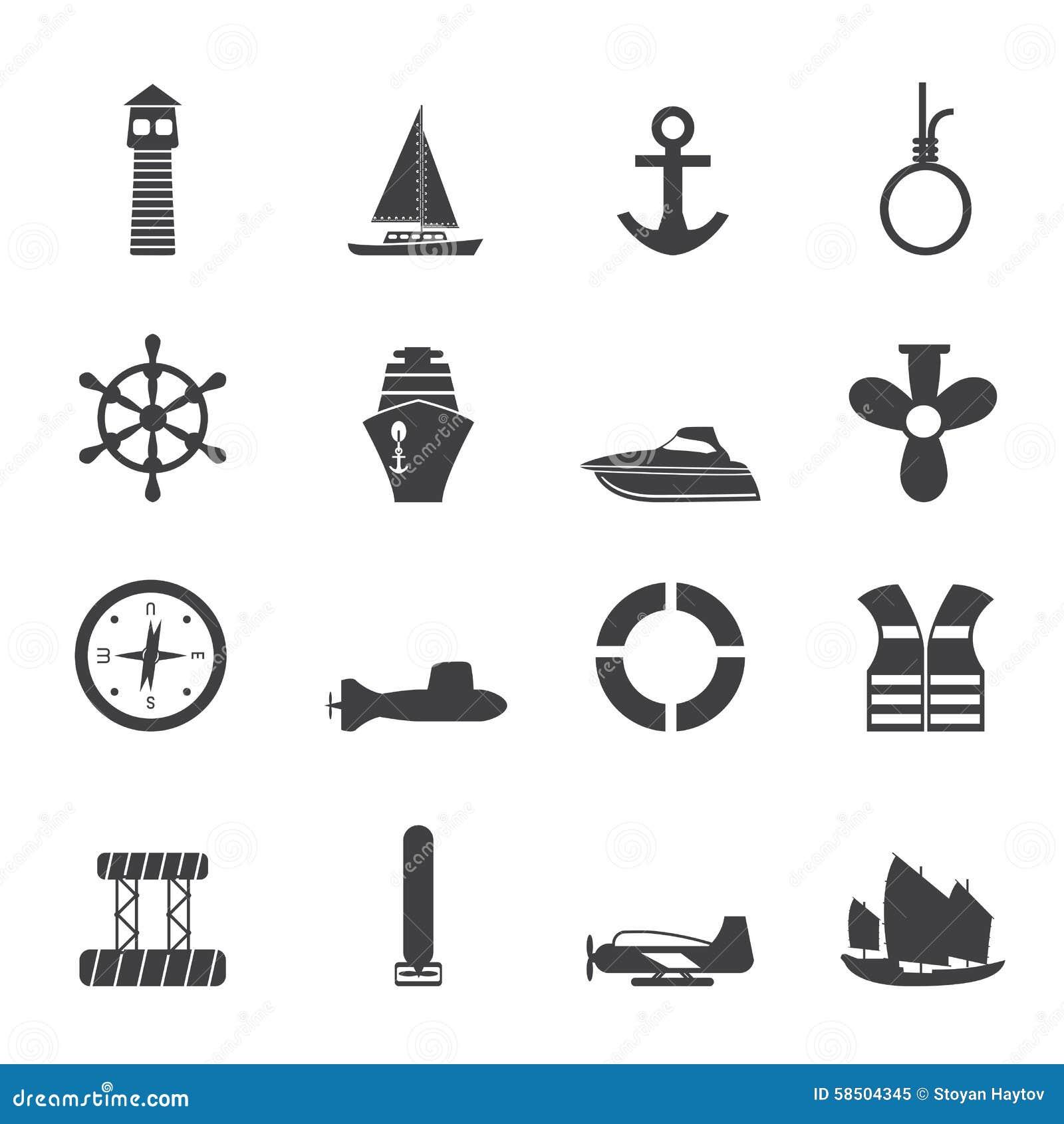 剪影简单的海军陆战队员、航行和海象