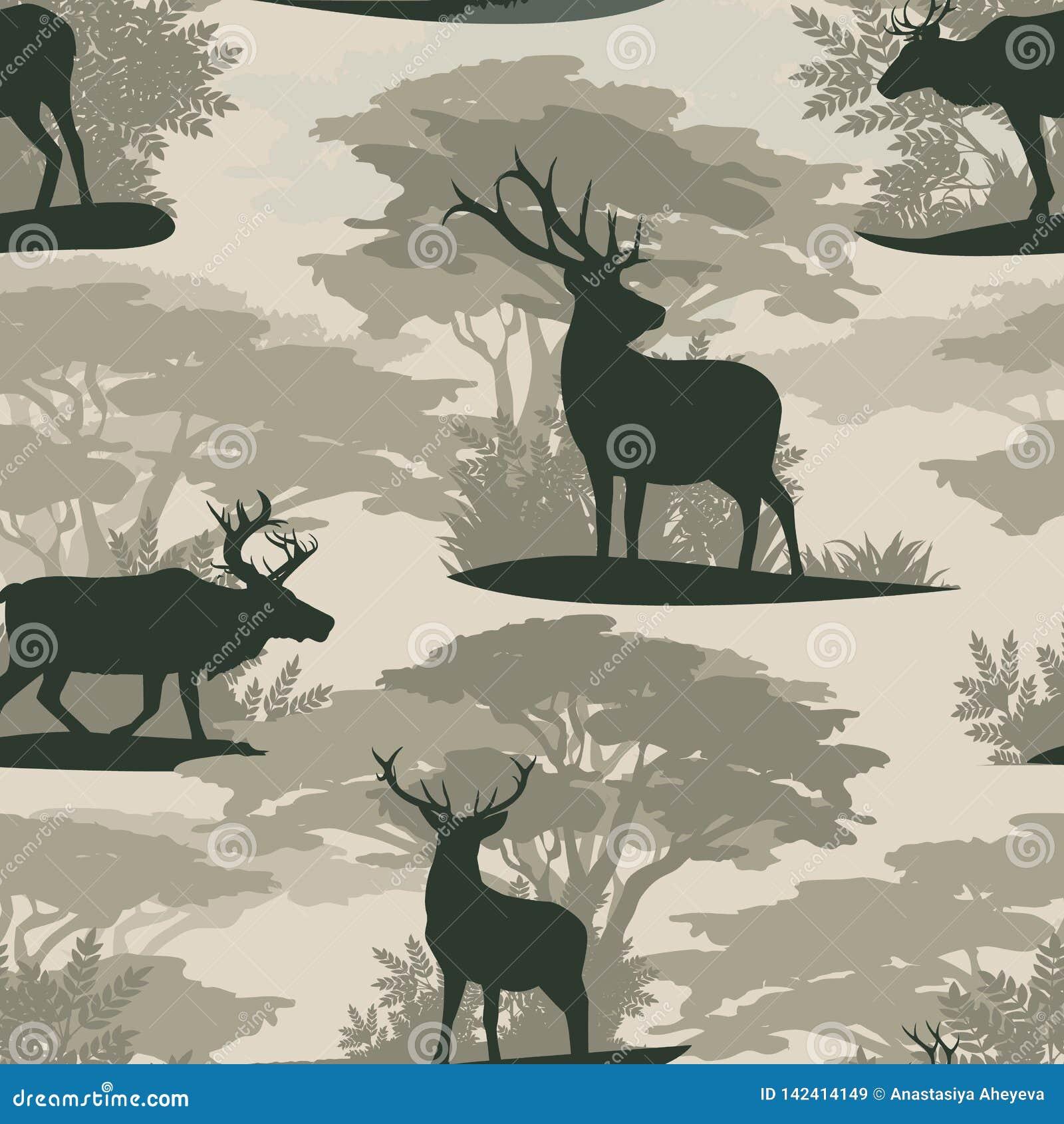 E 剪影野生鹿驯鹿在森林里