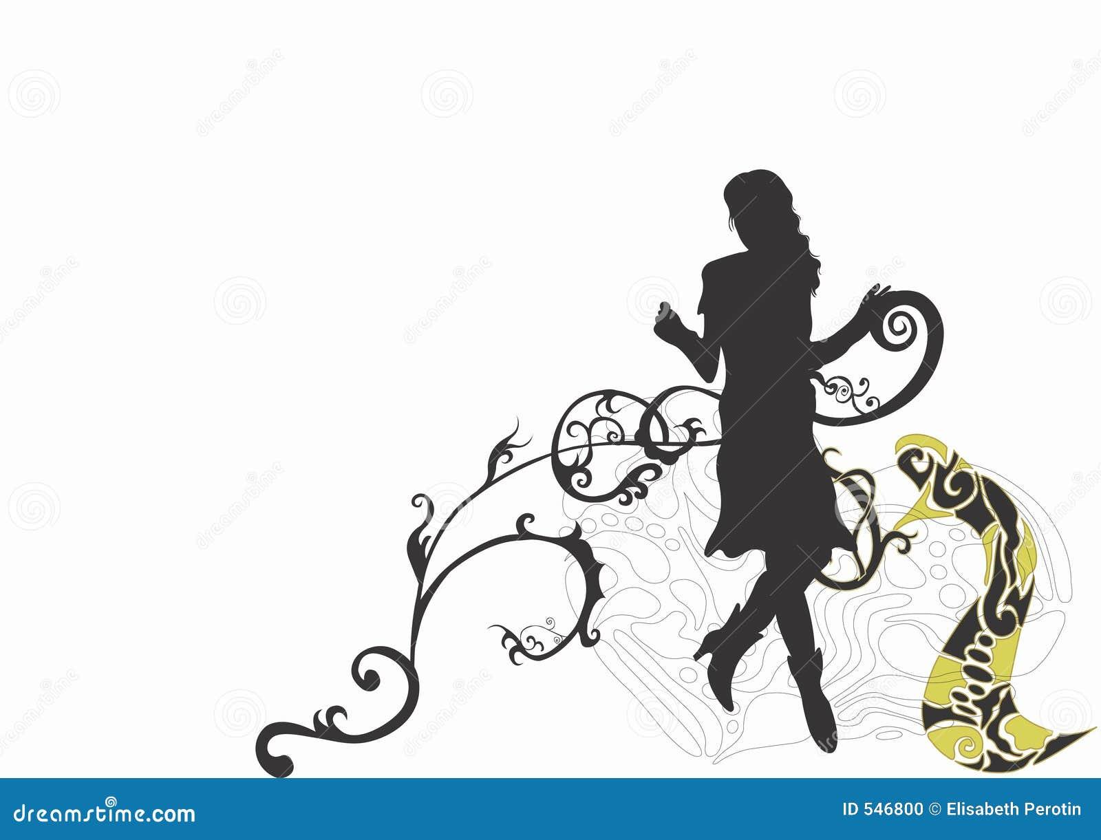 Download 剪影 库存例证. 插画 包括有 妇女, 人员, 模式, 装饰品, 滚动, 设计, 女性, 艺术性, 例证, 装饰 - 546800