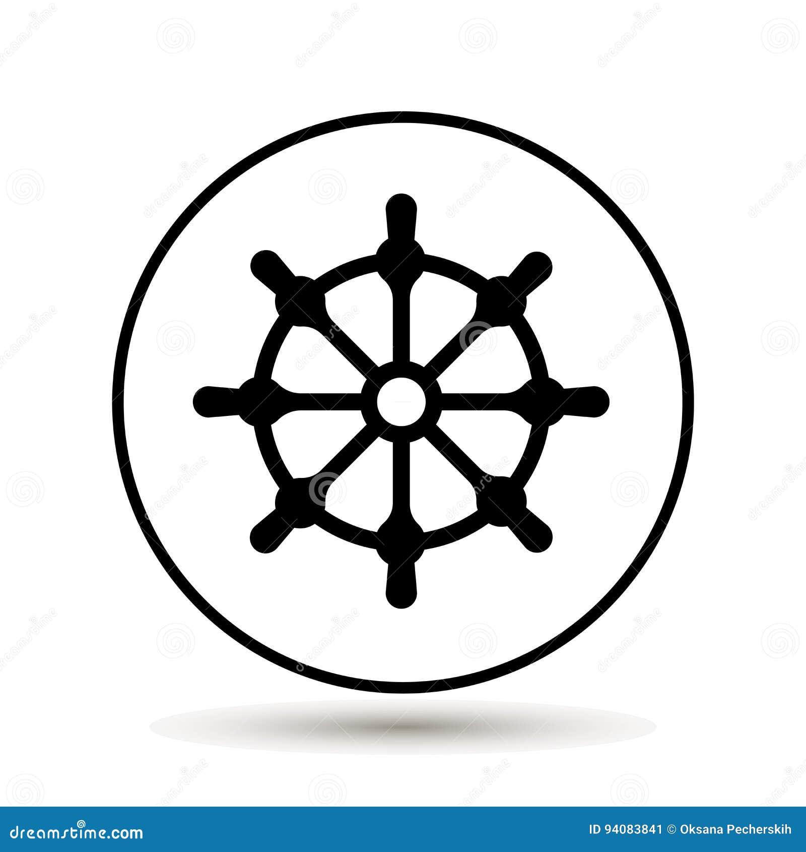 剪报查出在路径船轮子白色 小船方向盘象 也corel凹道例证向量