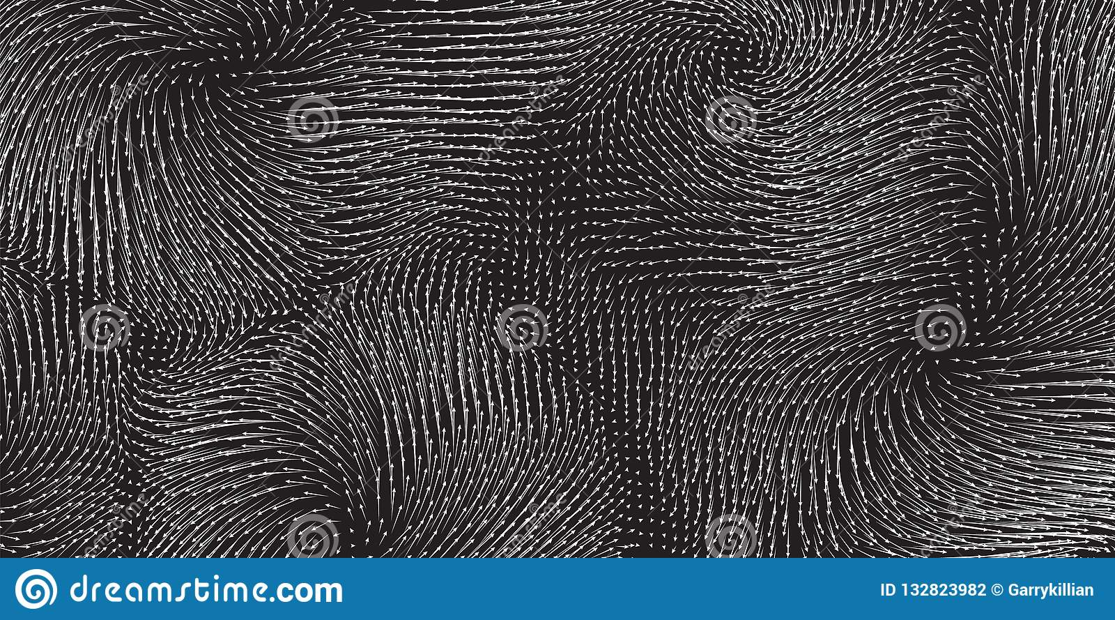 力量的传染媒介单色领域形象化 磁性或重心波动图 与a的科学背景