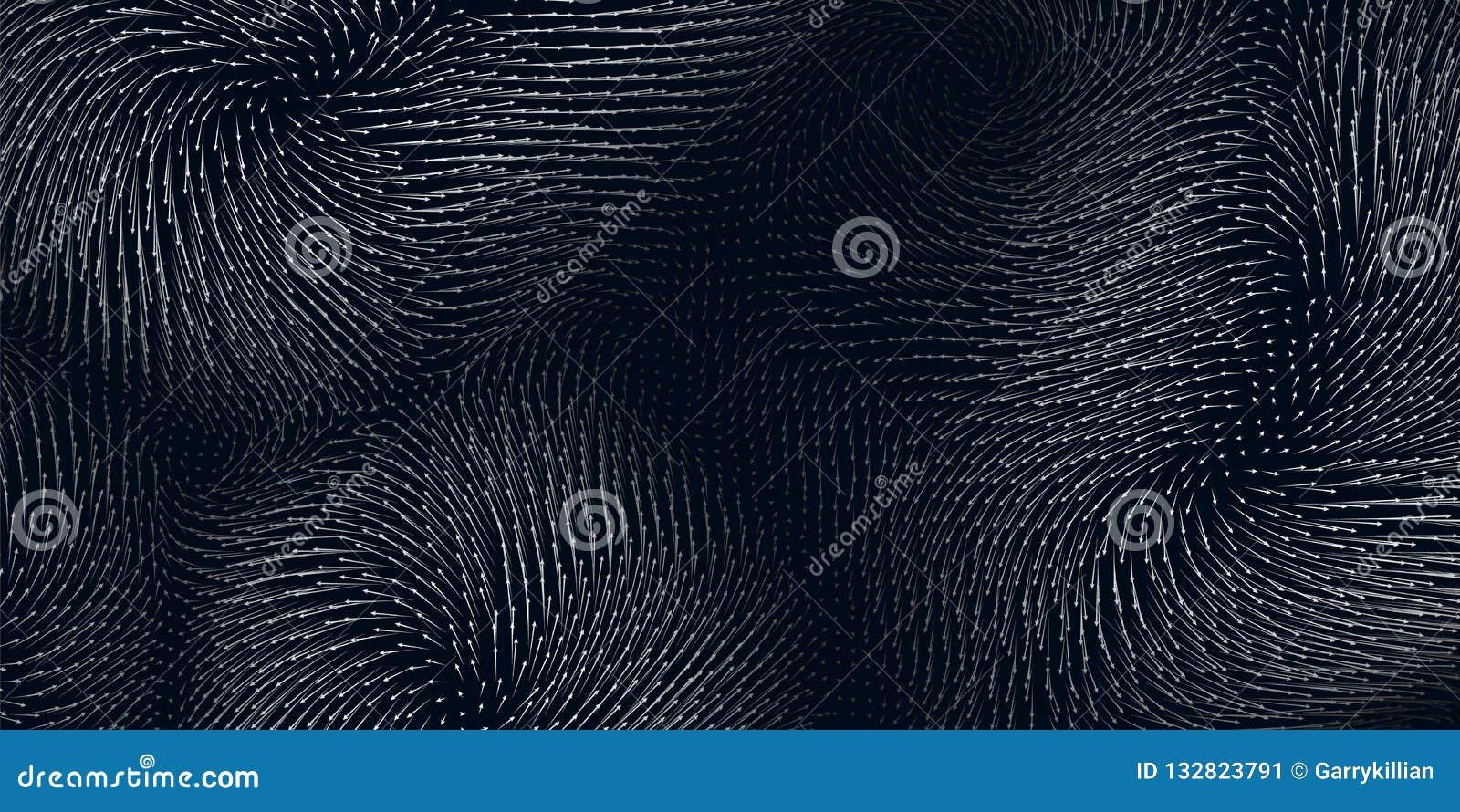 力量的传染媒介蓝色领域形象化 磁性或重心波动图 与矩阵的科学背景