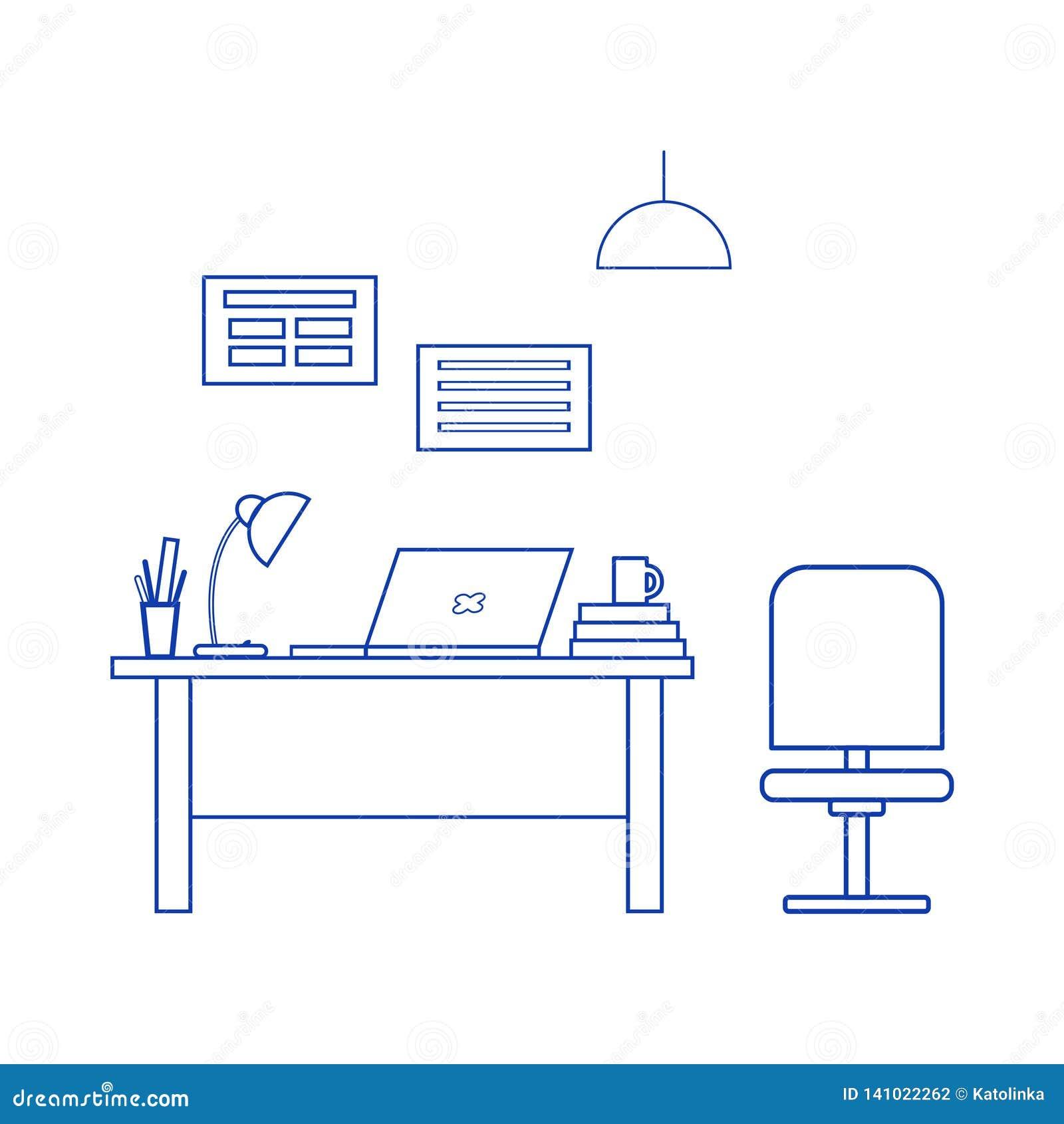 办公室内部 工作场所:桌,椅子,膝上型计算机,台灯,海报 办公家具,现代陈设品