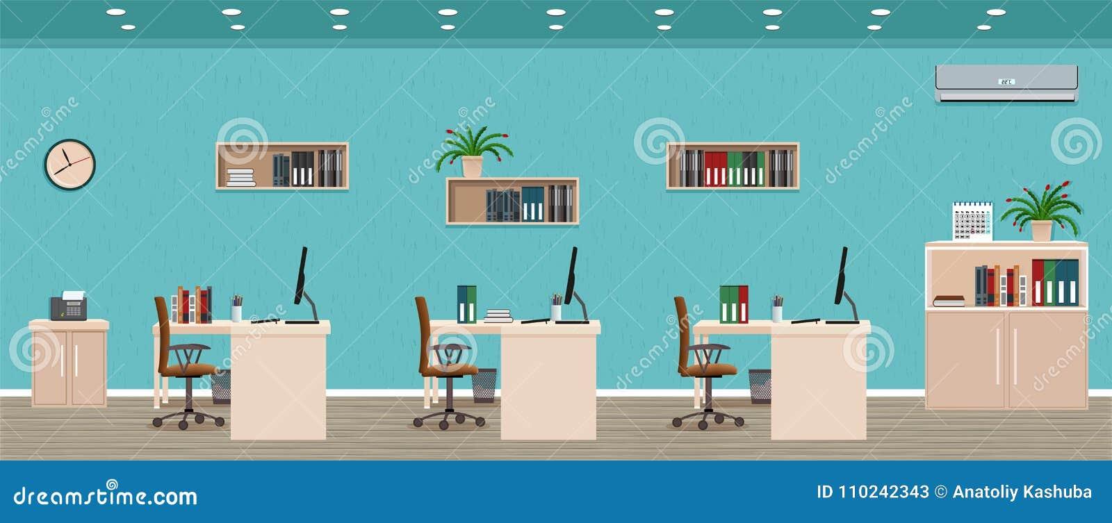 办公室室内部包括与都市风景的三个工作区窗口外 工作场所组织
