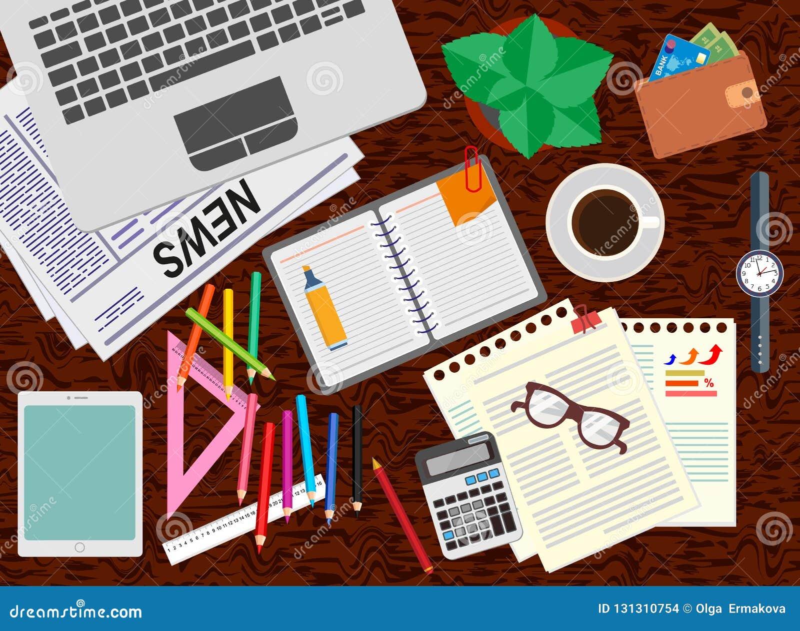 办公室 书桌 现实工作场所组织 顶视图